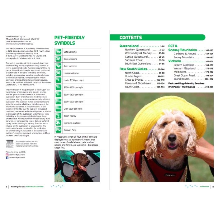 Travelling With Pets Book Contents