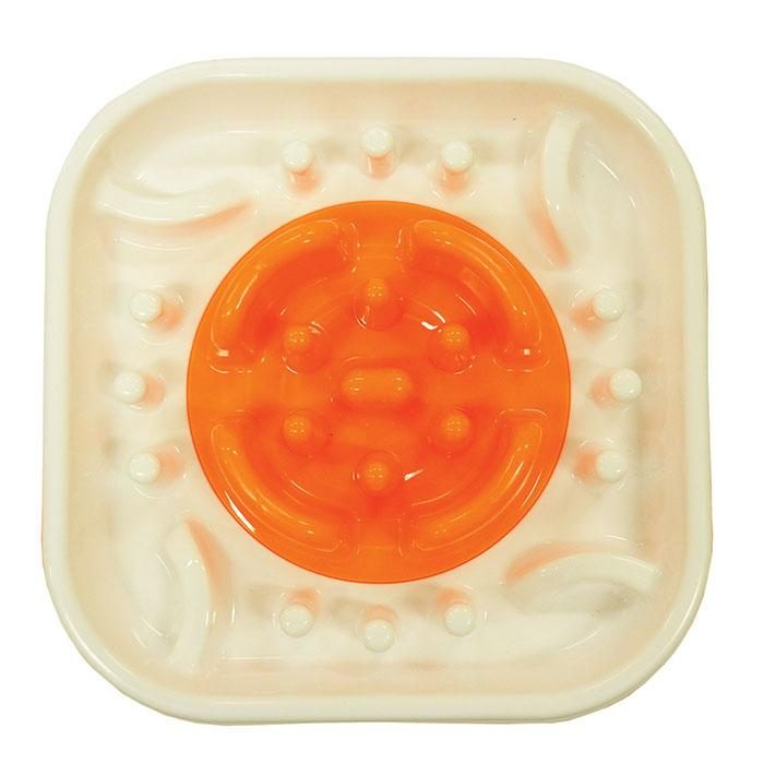 Scream Slow Feed Interactive Dog Bowl Orange Top