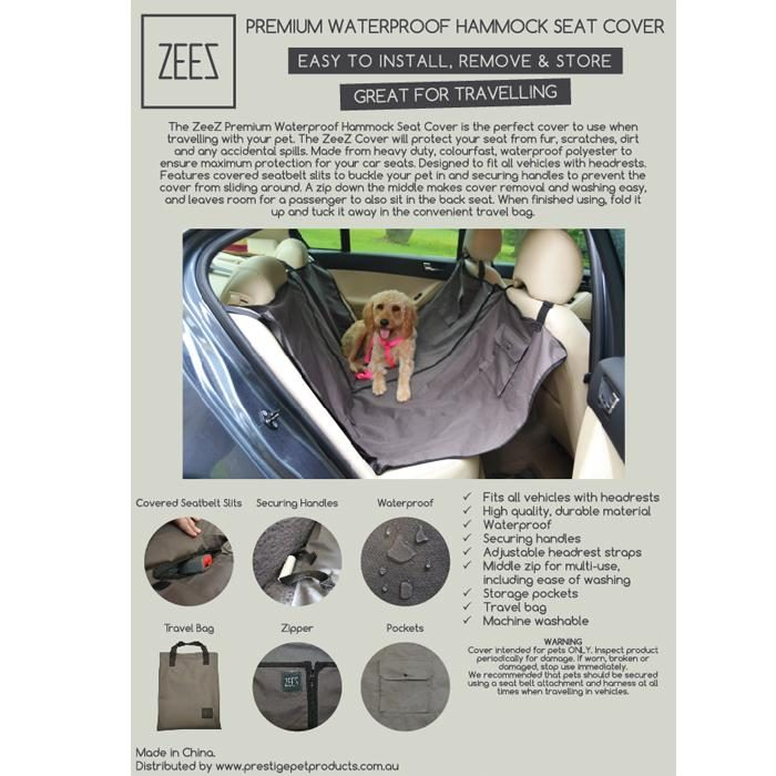 Zeez Waterproof Hammock Car Seat Cover Specs