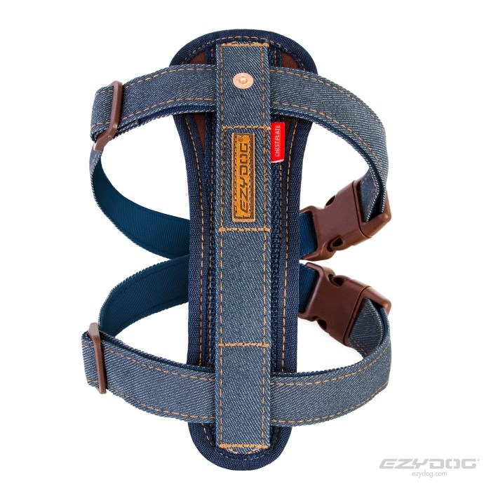EzyDog Chest Plate Harness Denim Front