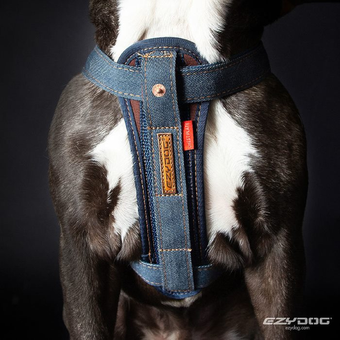 EzyDog Chest Plate Harness Denim