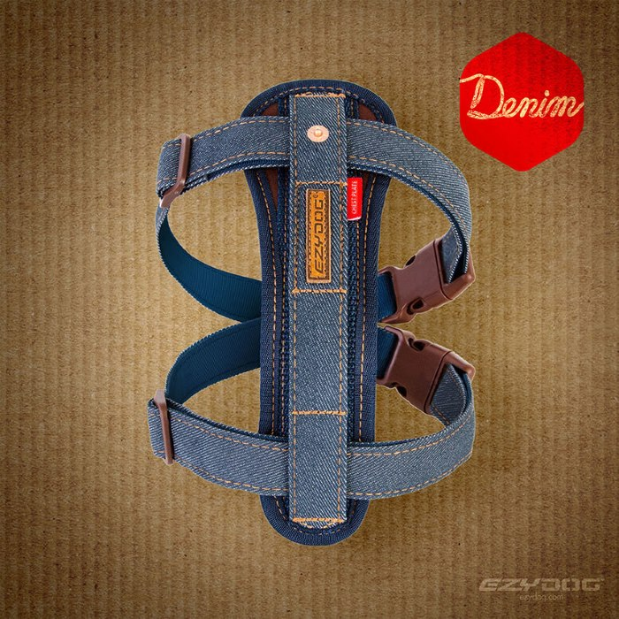 Denim EzyDog Chest Plate Harness
