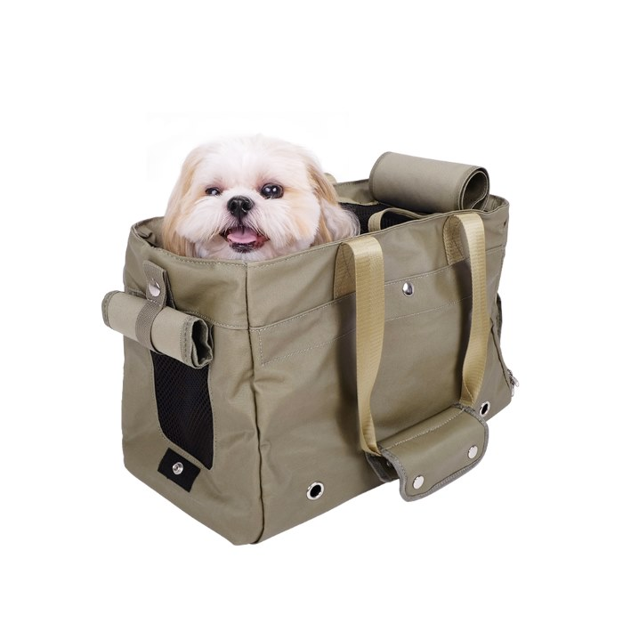 Canvas Pet Tote Soft Carrier Bag Army Green Interior