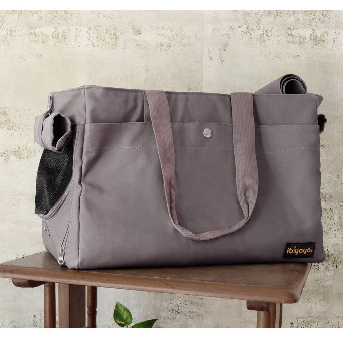 Canvas Pet Tote Soft Carrier Bag Grey Ibiyaya