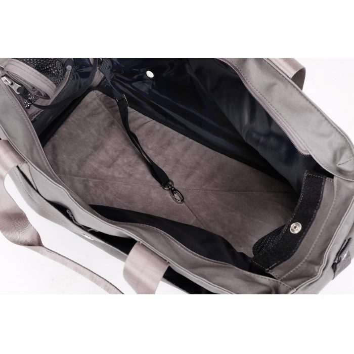 Canvas Pet Tote Soft Carrier Bag Grey Inside
