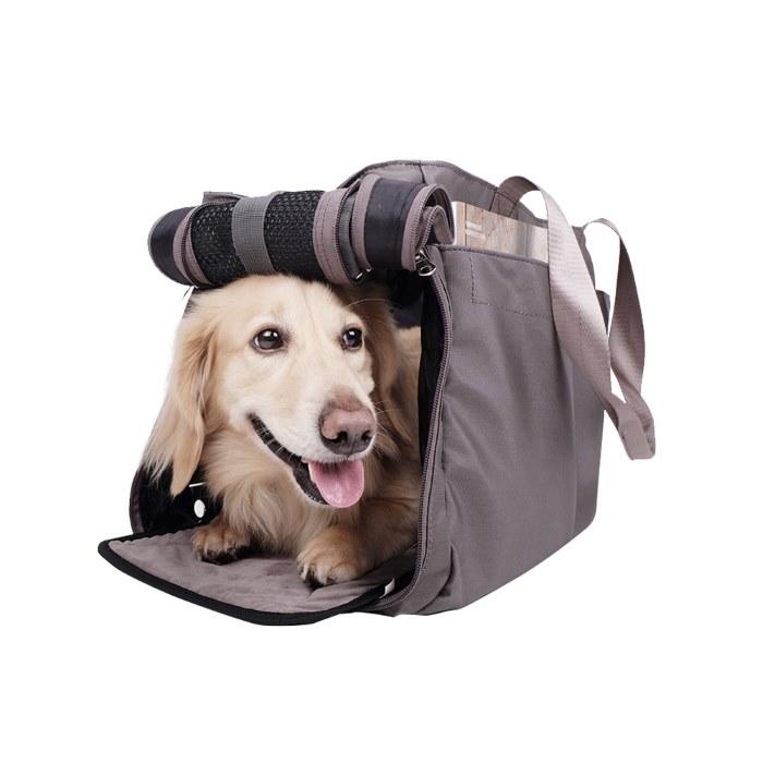 Canvas Pet Tote Soft Carrier Bag Grey Side Door