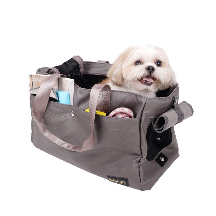 Canvas Pet Tote Soft Carrier Bag Grey interior