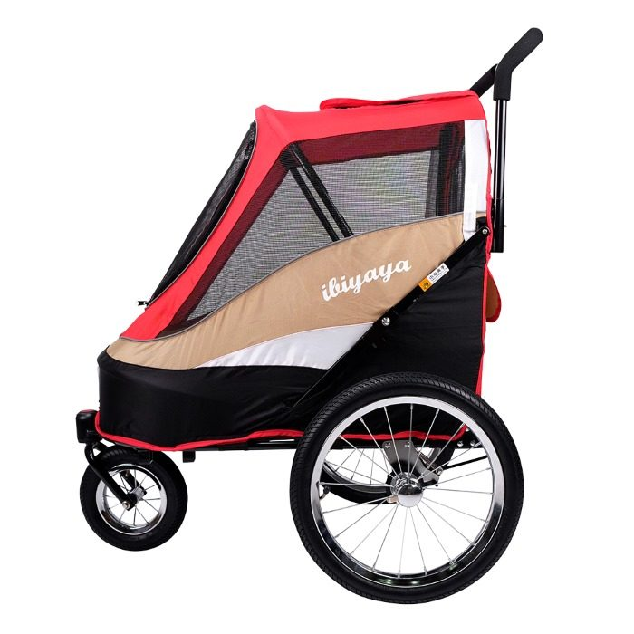 Dog bike trailer stroller Red Side