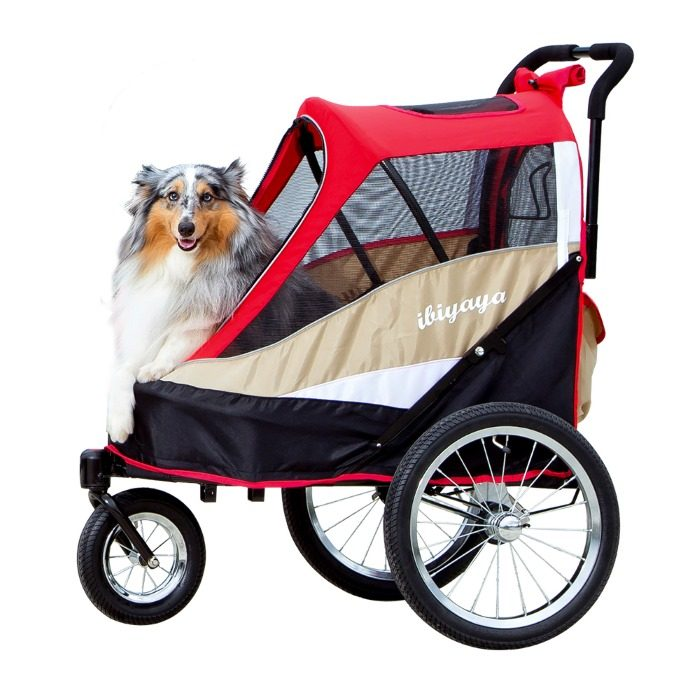 Dog bike trailer stroller Red side with Dog