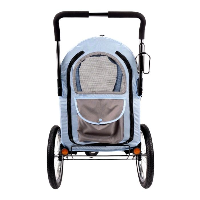 Dog bike trailer stroller blue back