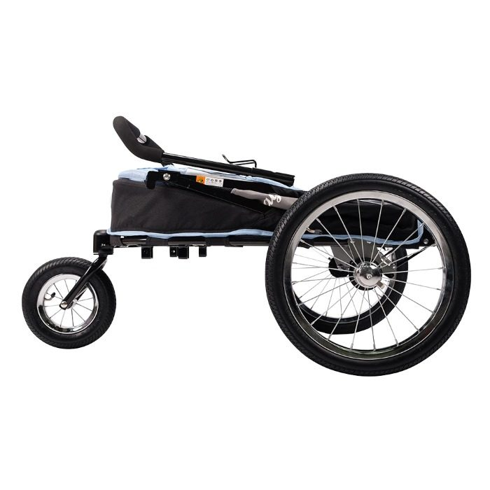 Dog bike trailer stroller blue folded