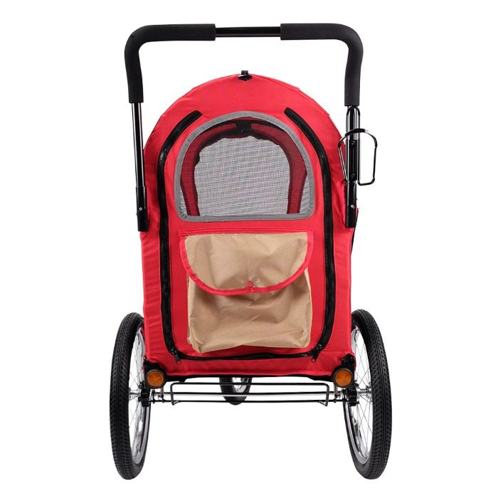 Dog bike trailer stroller red back