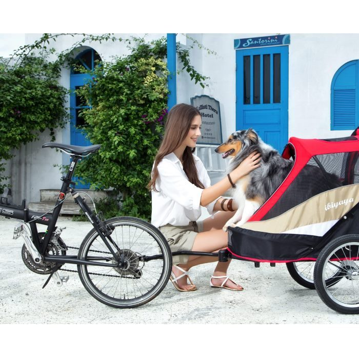 Dog bike trailer stroller red dog bike