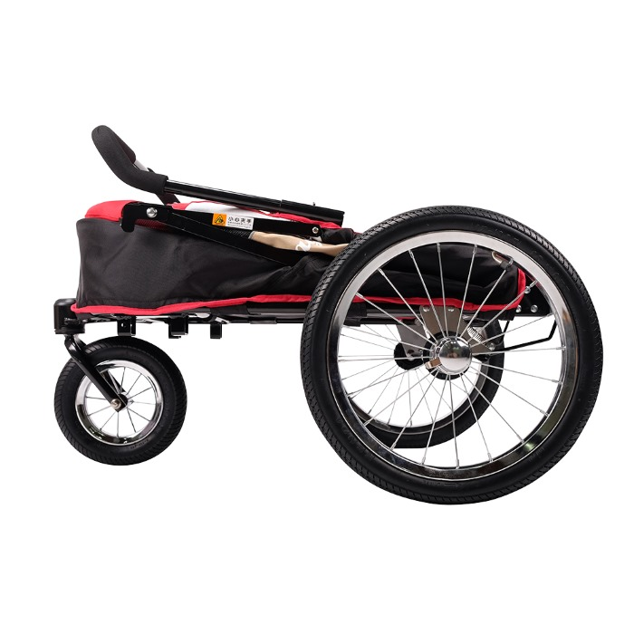 Dog bike trailer stroller red folded