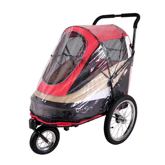 Dog bike trailer stroller red raincover