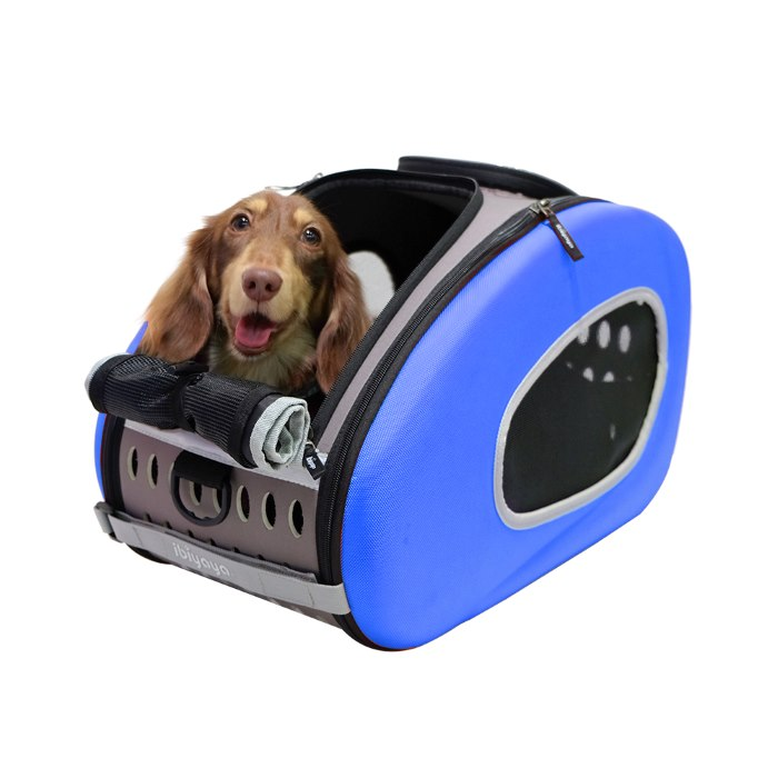 EVA 4in1 Pet Carrier Wheels Blue Dog