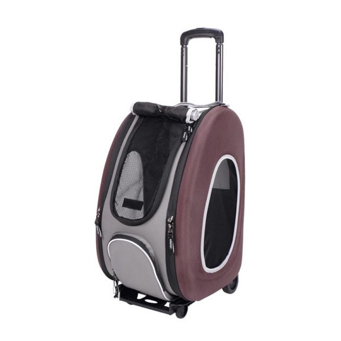 EVA 4in1 Pet Carrier Wheels Brown Open
