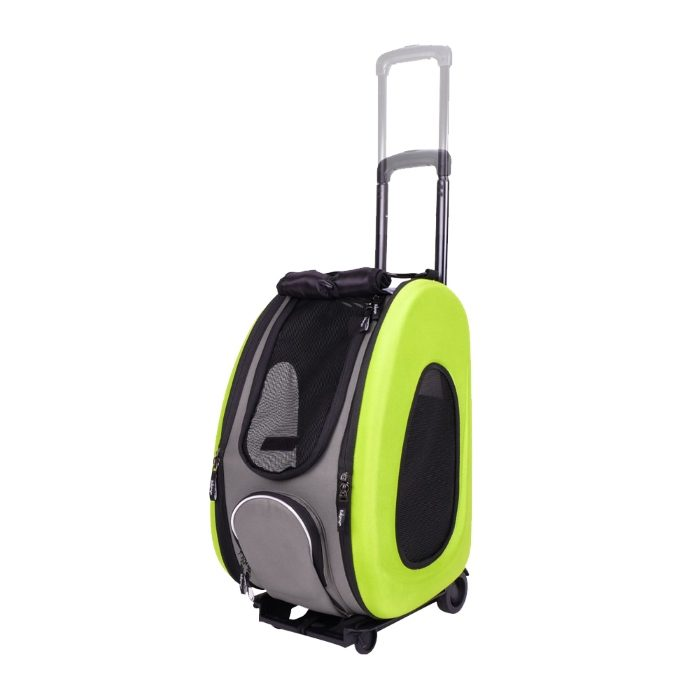 EVA 4in1 Pet Carrier Wheels Green Adjustable Handle