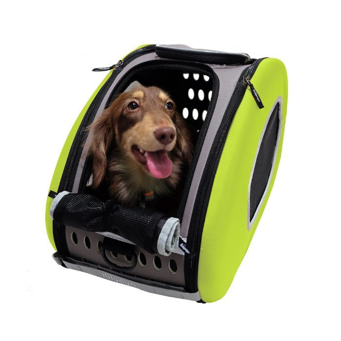 EVA 4in1 Pet Carrier Wheels Green Dog