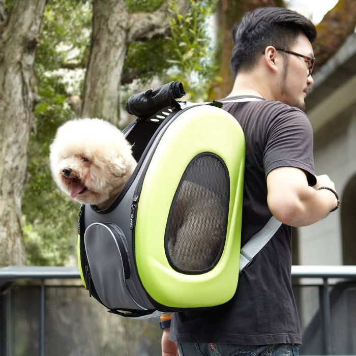 EVA 4in1 Pet Carrier Wheels Green Dog and Man