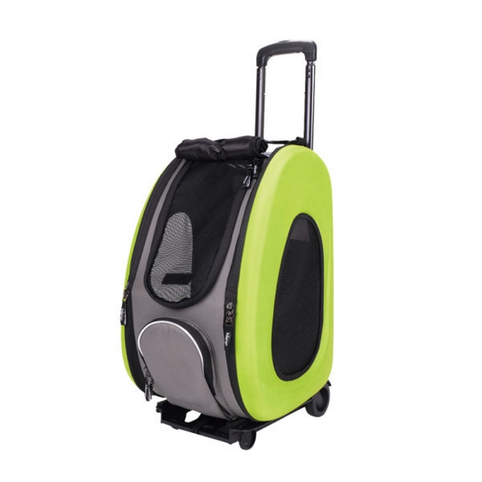 EVA 4in1 Pet Carrier Wheels Green Open