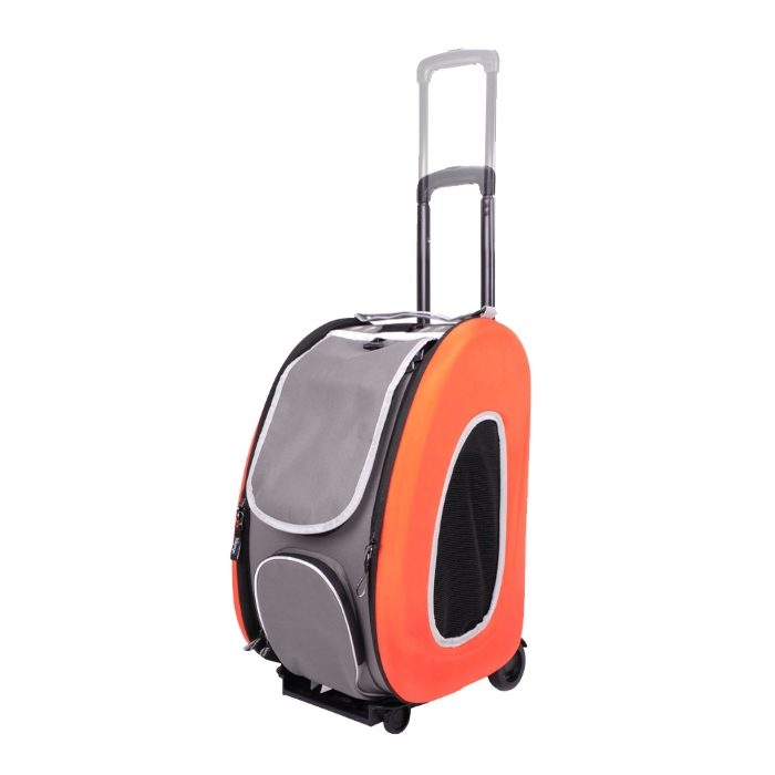 EVA 4in1 Pet Carrier Wheels Orange Adjustable Handle