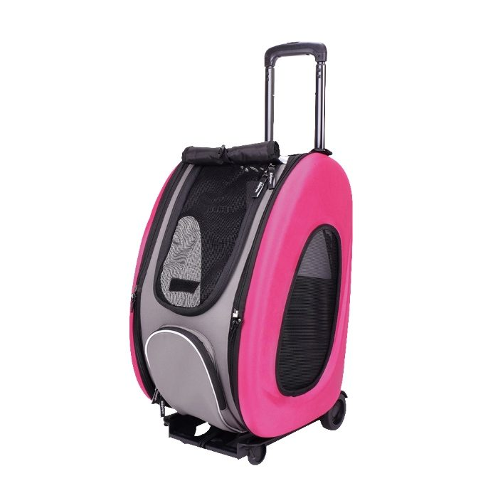 EVA 4in1 Pet Carrier Wheels Pink Open