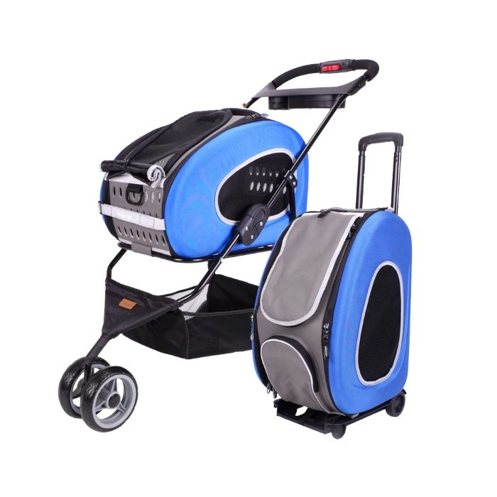 Ibiyaya EVA 5in1 Combo Pet Pram and Carrier Blue