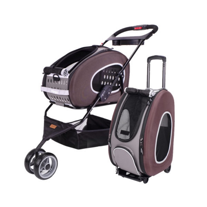 Ibiyaya EVA 5in1 Combo Pet Pram and Carrier Chocolate