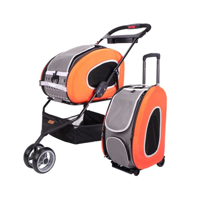 Ibiyaya EVA 5in1 Combo Pet Pram and Carrier Orange