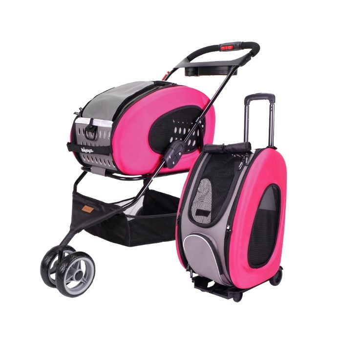 Ibiyaya EVA 5in1 Combo Pet Pram and Carrier Pink