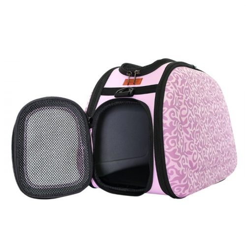 Shoulder Pet Carrier Bag_Baroque Pink_FrontOpen