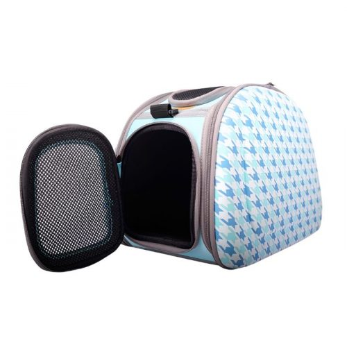 Shoulder Pet Carrier Bag_Chidori Blue_FrontOpen