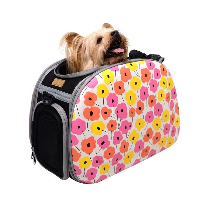 Shoulder Pet Carrier Bag_PoppyFlowers_Pup