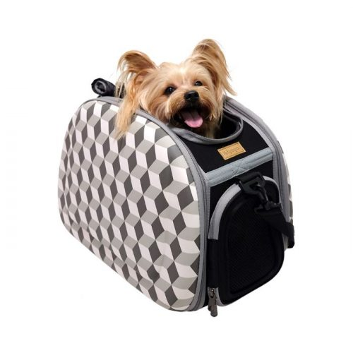 Shoulder Pet Carrier Bag_Rhombic Grey_pup