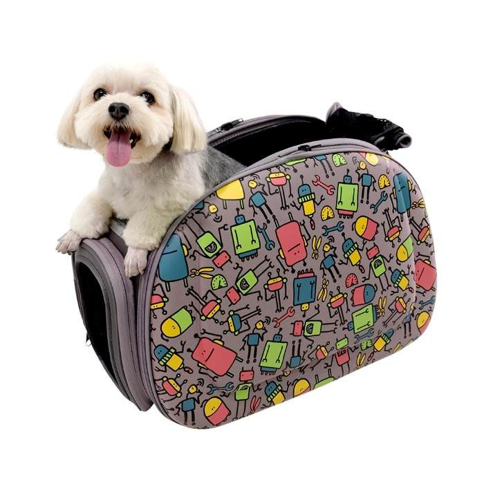 Shoulder Pet Carrier Bag_Robots_pup