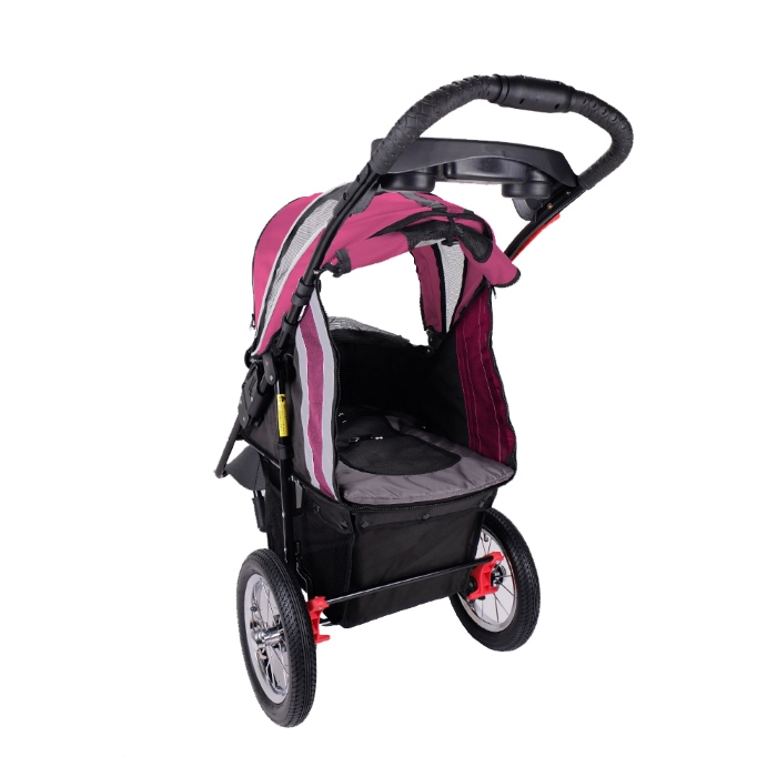 Turbo Pet Jogger Stroller Berry Pink Back Open