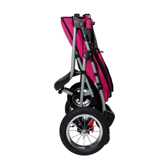 Turbo Pet Jogger Stroller Berry Pink Collapsed