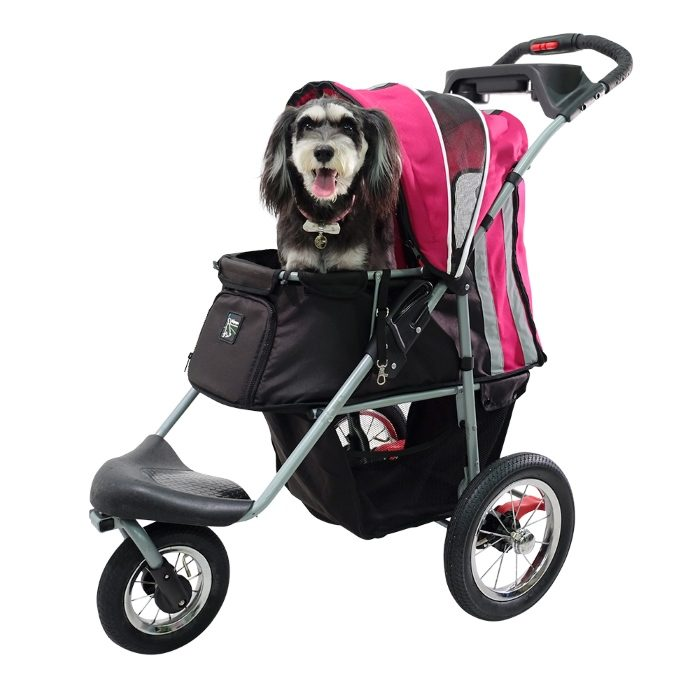 Turbo Pet Jogger Stroller Berry Pink with Dog