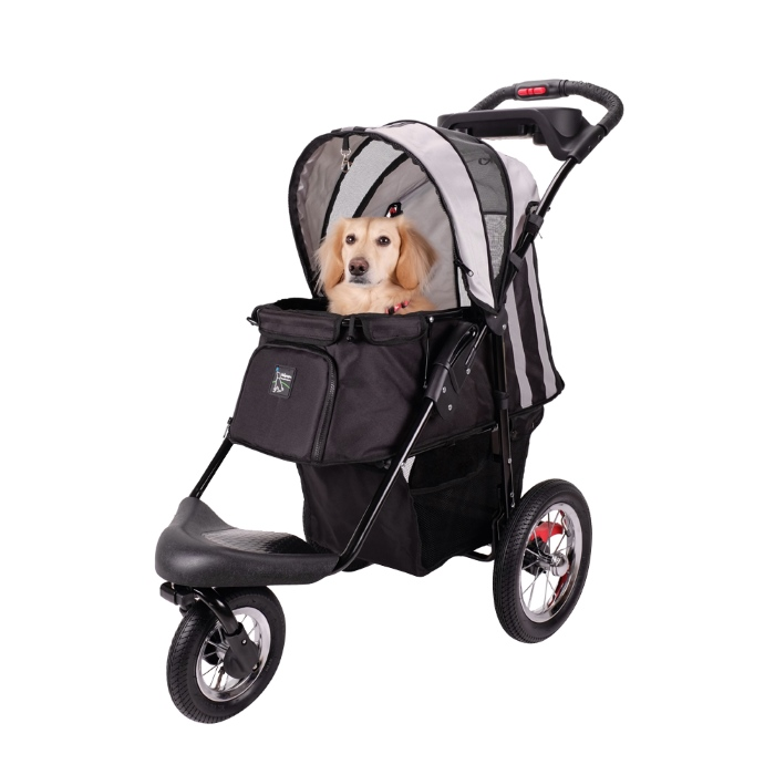 Turbo Pet Jogger Stroller Black with Dog