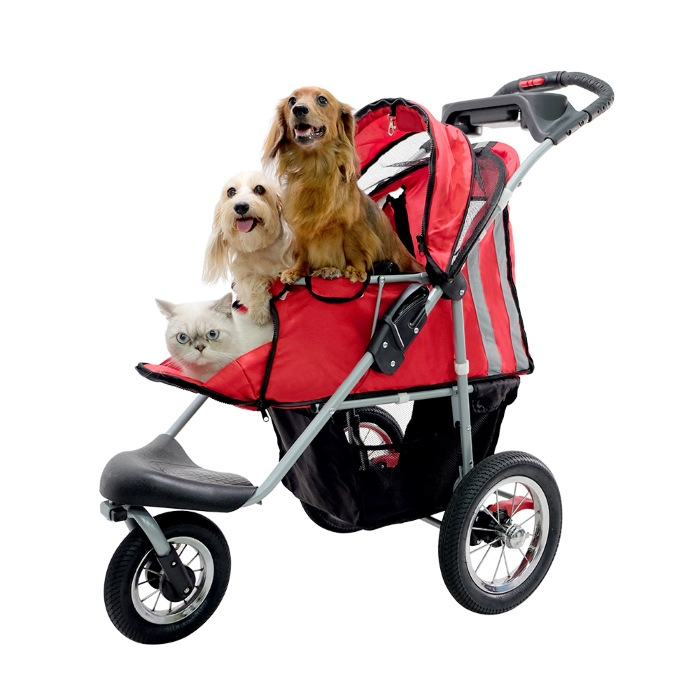 Turbo Pet Jogger Stroller Red with fur family