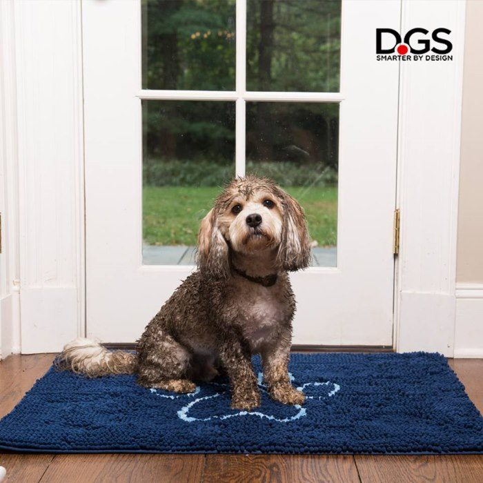 Dirty Dog Doormat Blue Muddy Paws