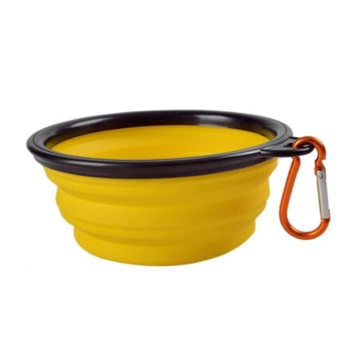 Yellow Portable Collapsible Dog Bowl