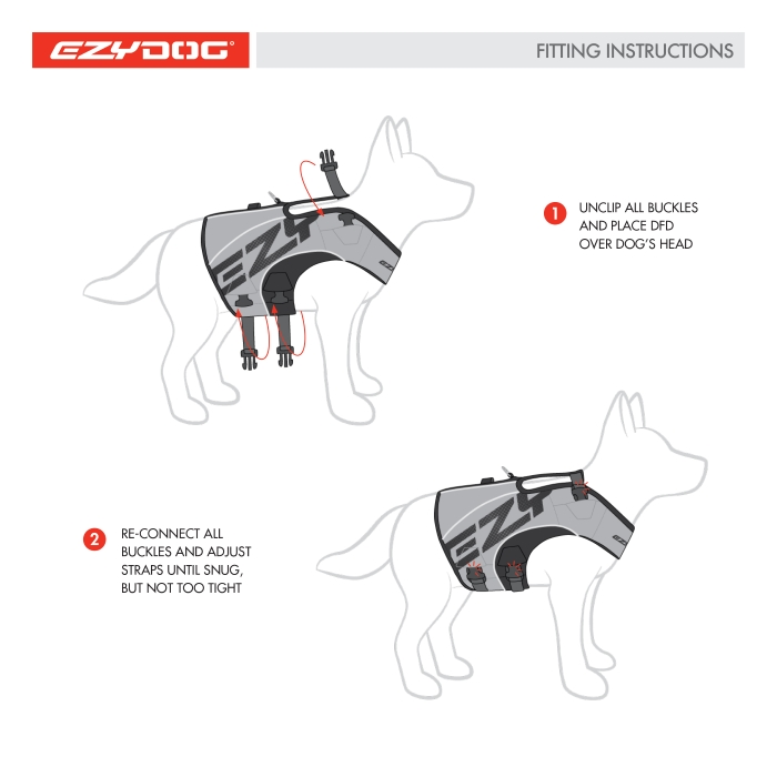 EzyDog Dog Flotation Vest Fitting instructions