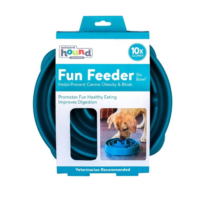 Outward Hound Fun Feeder_Teal_Large_Packaging