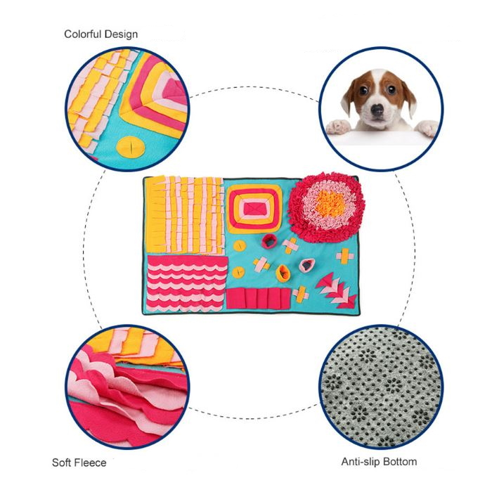 Large Dog Snuffle Activity Mat Blue_Yellow_Pink Features