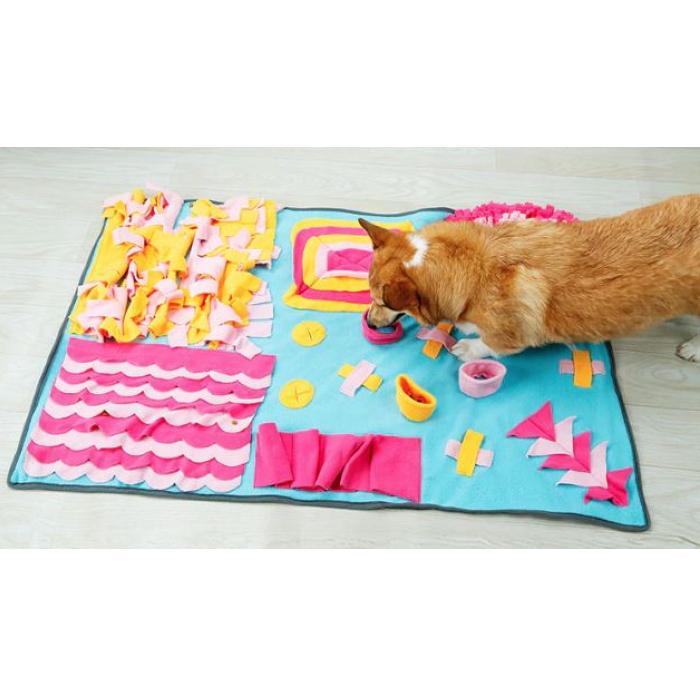 Large Dog Snuffle Activity Mat Blue_Yellow_Pink