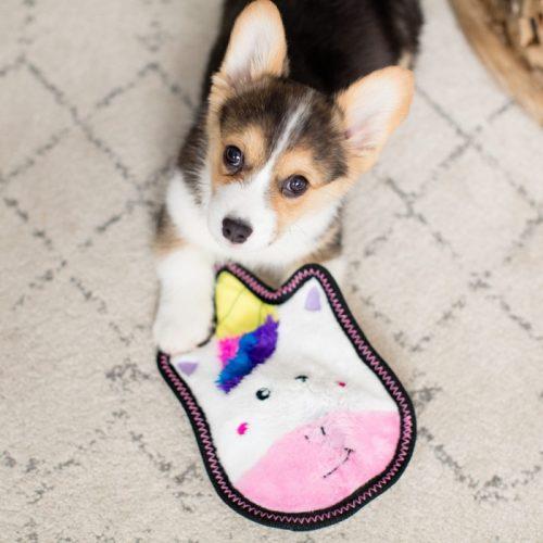Sprinkles the Unicorn Tough Z-stitch dog toy_puppy