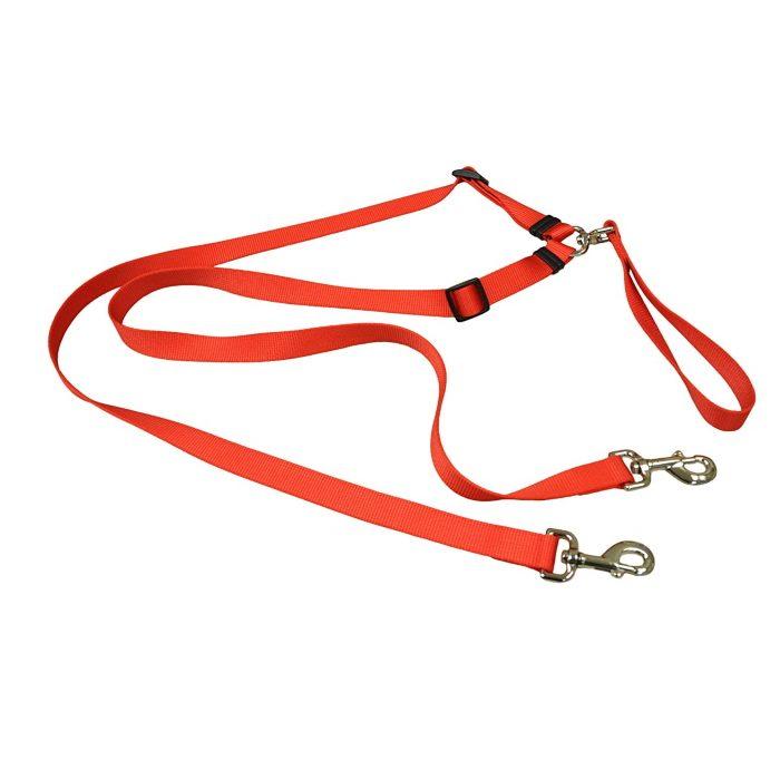 Tangle Free 2 Dog Walking Lead_ Red