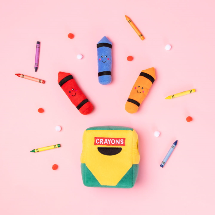 Zippy Burrow Crayon Box Interactive Dog Toy School collection